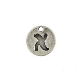 Colgante ZAMAK  chapa abecedario letra X 14 mm (baño de plata)