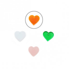Plexy naranja - Colgante corazon 12.5 mm, int 1.2 mm