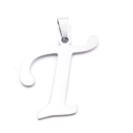 Inicial - Letra T- Colgante Acero inoxidable 3 cm