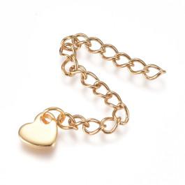 Cadena extendedora o alargadora de acero dorado 6 cm con plaquita corazon ( 1 unidad)