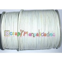 Cordon cuero color blanco roto 2 mm (1 metro)