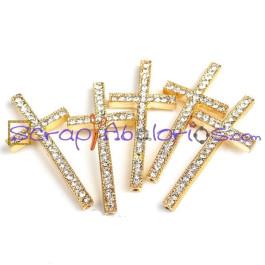 db893cec7853 Cruz dorada con rhinestones o strass cristal 50x23 mm