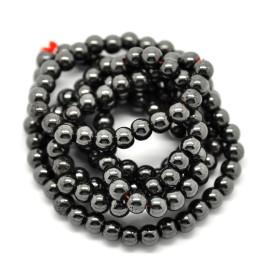 Hematite negro bola 6 mm, 75-80 uds (hilera)