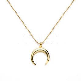 6c154e16a20d Collar media luna invertida (15 mm ) plata de ley (40 cm) dorado