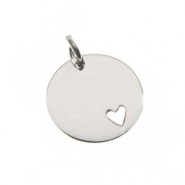 7ab6dcf6fc04 Colgante Plata de Ley lisa corazon para grabar 15 mm con anilla