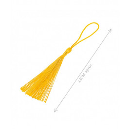 Pompon borla de hilo largo 12 cm COLOR AMARILLO OCRE