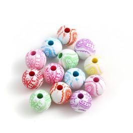 Abalorios bolas acrilicas colores 8 mm virgencitas , taladro 2 mm - 100 uds mix
