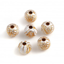 Abalorios bolas acrilicas dorado 8 mm virgencitas , taladro 1.8 mm - 100 uds mix