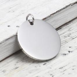 Moneda chapita de acero lisa grosor 1.4 mm con anilla, ideal grabar 23x20 mm
