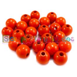 Bolsita 20 bolitas de madera antibaba 10 mm - Color Naranja 13