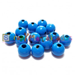 Bolsita 20 bolitas de madera antibaba 10 mm - Color Azul 20