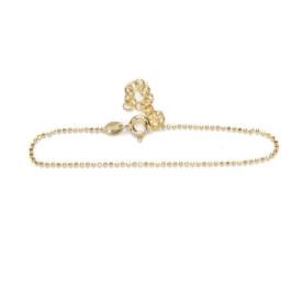 Pulsera Plata de Ley baño oro - Bolitas 1 mm diamantadas 15 cm+ 4 cm