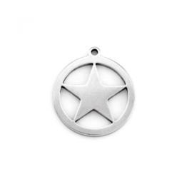 Estrella circulo colgante acero inoxidable 21x18 mm, int 1 mm