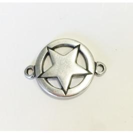 Entrepieza Zamak baño plata conector estrella 35x25 mm, int 3 mm