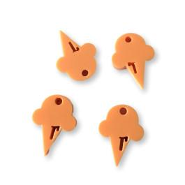 Plexy naranja pastel - Colgante helado cucurucho 15 mm, int 1.2 mm