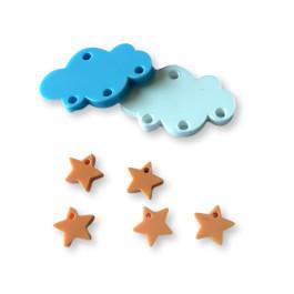 Colgante mini estrella de plexy naranja pastel  7 mm ( para combinar con las nubes PXC-101) - 1 unidad