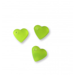 Colgante mini corazon de plexy verde lima 7 mm - 1 unidad