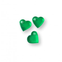 Colgante mini corazon de plexy verde 7 mm - 1 unidad