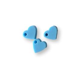 Colgante mini corazon de plexy azul pastel 7 mm - 1 unidad