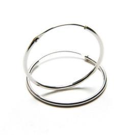 Pendiente plata de ley - Aro liso 30 x 1,2 mm (1 par)