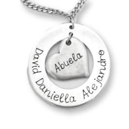ea1b2df27d9f Colgante zamak baño plata Aro y corazon grabado personalizado