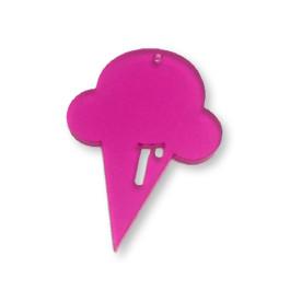 Plexy fucsia - Colgante helado cucurucho 50x31 mm, int 1.5 mm