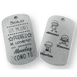 Colgante Zamak baño plata chapa Mejor abuelo grabada a doble cara(761)