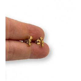 Tres mini estrellas 10 mm - Pendientes acero inoxidable dorado - 1 par