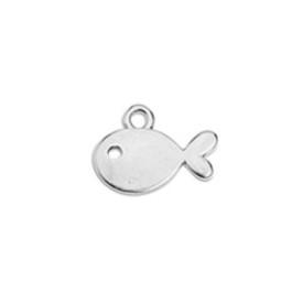 Colgante ZAMAK baño plata pez mini 14 mm