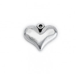Colgante ZAMAK baño plata corazon 16x14 mm