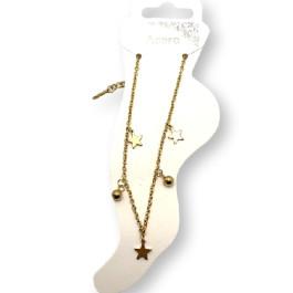Tres estrellas y dos bolitas - Tobillera Acero dorado 23 cm + 5 cm extendedora