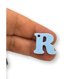 Letra R - Plexy azul pastel - Colgante letra inicial abecedario 18 mm, taladro 1.5 mm
