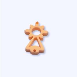 Plexy naranja pastel - Entrepieza Virgen del Covadonga 20x10  mm