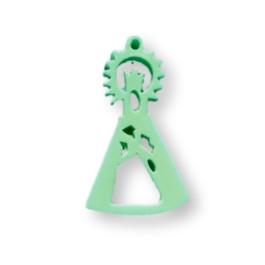 Plexy verde pastel - Entrepieza y colgante Virgen de la Asunción 25x15  mm