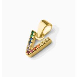 Letra V inicial mini 9 mm - Colgante Plata de Ley baño de oro y circonitas multicolor