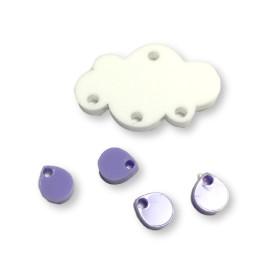 Colgante mini gota de plexy lila pastel 7 mm ( para combinar con las nubes PXC-101) - 1 unidad