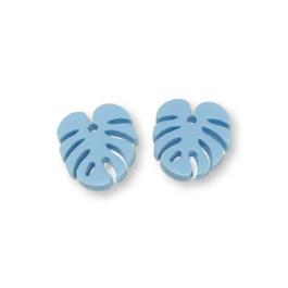 Plexy azul pastel - Colgante hoja tropical mostera peque 20x17 mm, int 1.5 mm