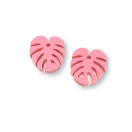 Plexy rosa pastel - Colgante hoja tropical mostera peque 20x17 mm, int 1.5 mm