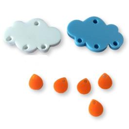 Colgante mini gota de plexy naranja 7 mm ( para combinar con las nubes PXC-101) - 1 unidad