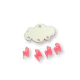 Colgante mini rayo rosa neon plexy 10 mm ( para combinar con las nubes PXC-101)