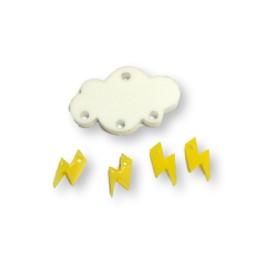 Colgante mini rayo amarillo limon plexy 10 mm ( para combinar con las nubes PXC-101)