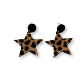 Pendientes estrellas de leopardo plexy y acero ( 1 par)