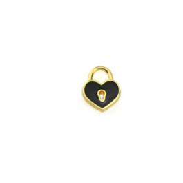 Colgante ZAMAK dorado corazon candado esmaltado negro 15x12 mm