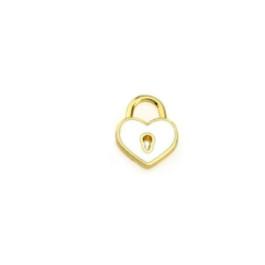 Colgante ZAMAK dorado corazon candado esmaltado blanco 15x12 mm