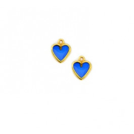 Corazon dorado y azul 12 mm - Colgante zamak dorado y esmaltes translucidos