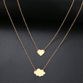 Cadena gargantilla acero dorado doble altura con nube y corazon