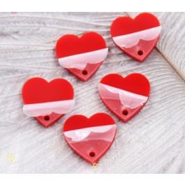 Plexy rojo - Aplique colgante corazon invertido 12 mm ( 2 uds)