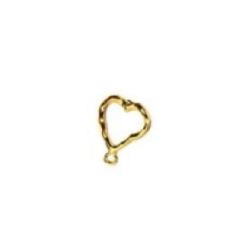 Pareja bases pendientes Zamak dorado corazon machacado 12 mm ( 1 par, incluye traseras)