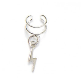 Pendiente de Cartilago earcuff en plata de ley - Aro doble con rayo - 1 ud