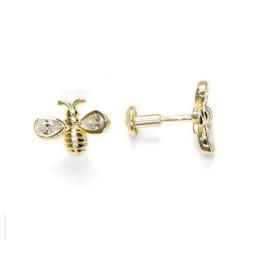 Abejas con circonita 9x7 mm - Pendiente plata de Ley baño de oro ( 1 par)